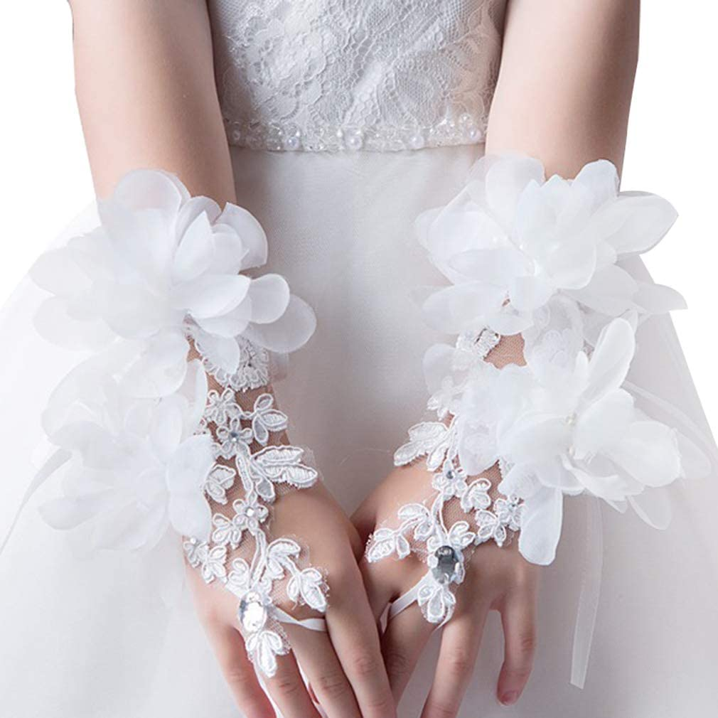 CRIZAN NEW White Girls Lace Flower Gorgeous Fingerless Glove special Occasion Dress Formal Wedding Pageant Party Short