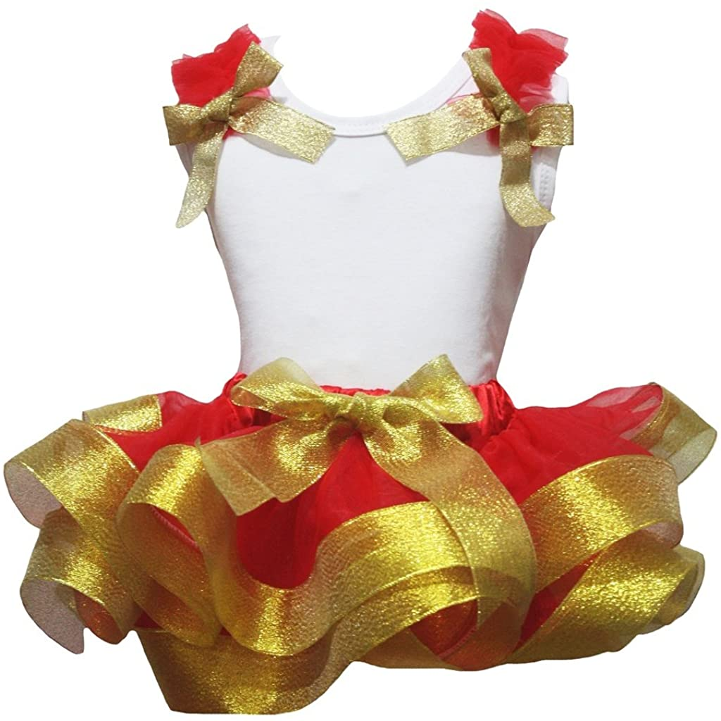 Petitebella White Cotton Shirt Red Petal Skirt Golden Ribbon Outfit Set Nb-8y