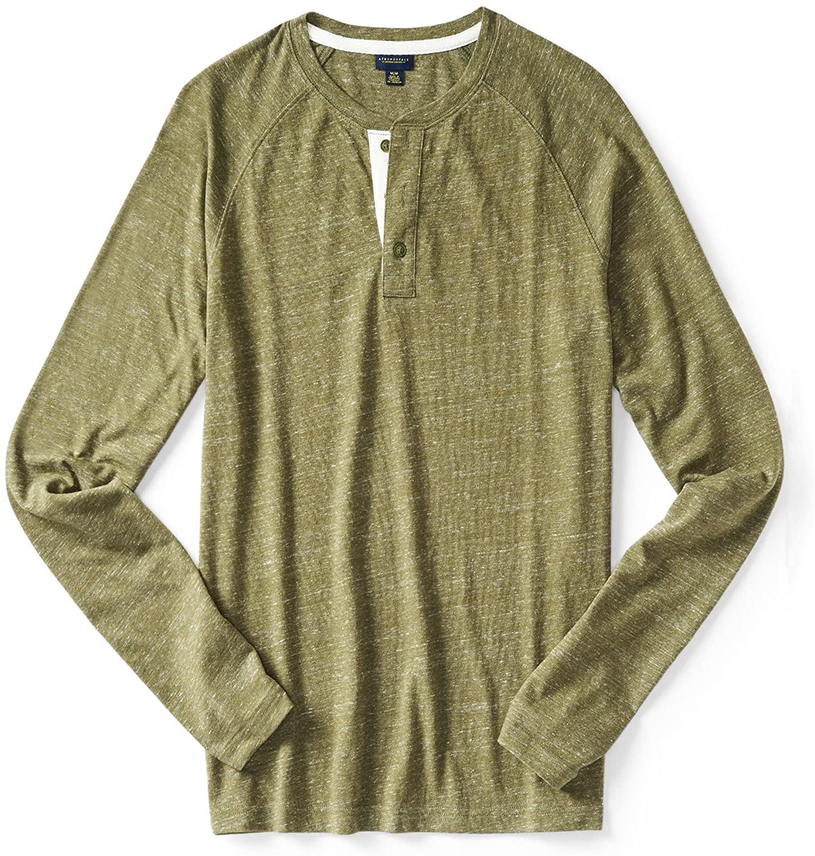 AEROPOSTALE Mens Ls Contrast Henley Shirt