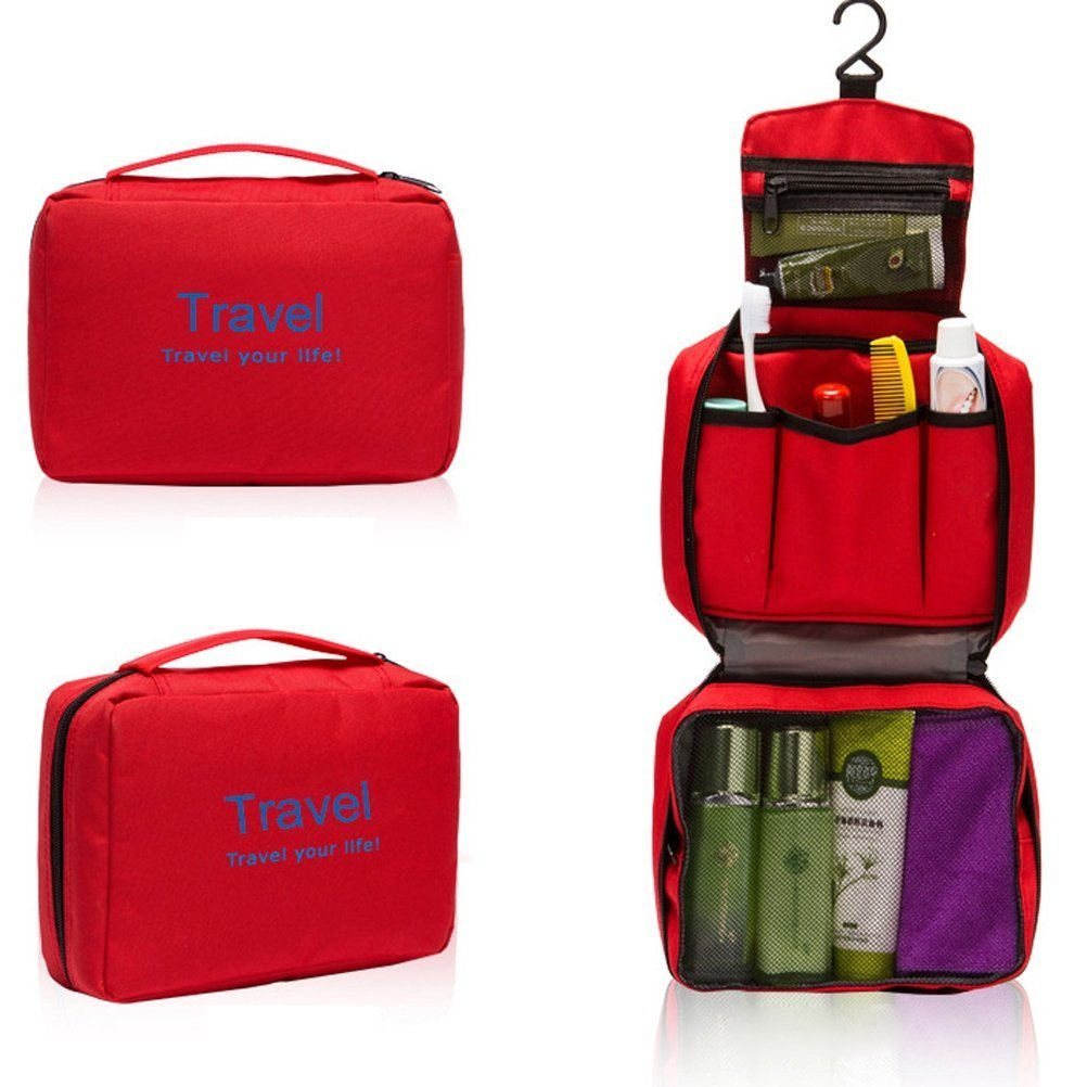 Healtheveryday Ladies Mens Portable Multi-function Travel Bag Wash Bag Toiletries Makeup Bag Hanging Grooming Cosmetic Bag Pouch Organizer (Red)