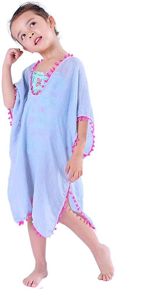 MissShorthair Girls' Cover-ups Swimsuit Wraps Beach Dress Top with Pompom Tassel