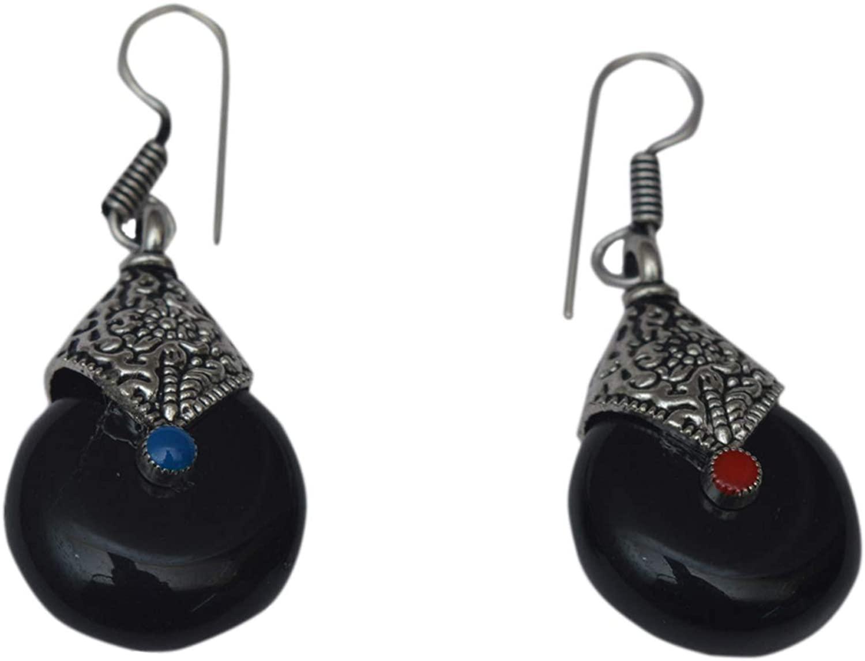 JD&JD Fashion Jewelry Handmade Ethnic Black Onyx Oxidized Hook Earring Jewelry 1.5''