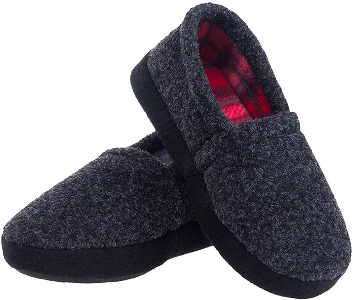 festooning Kids Boys Comfy Warm Indoor House Slippers Fleece Memory Foam Shoes