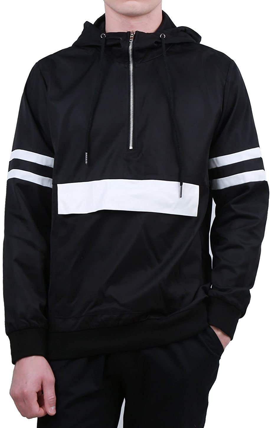 uxcell Men Half Zip Striped Lightweight Pullover Jacket Hoodie