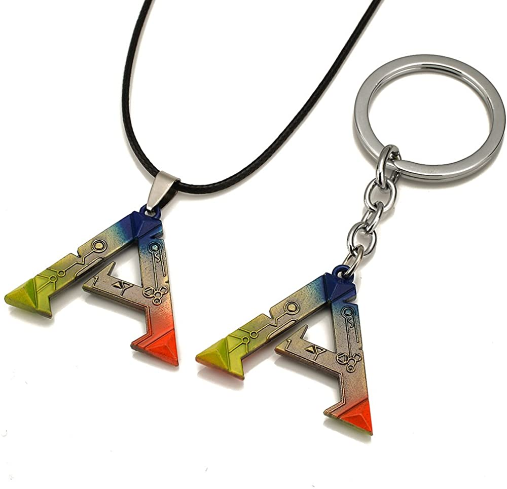PC Game ARK: Survival Evolved Alloy Keychain & Necklace Set Colorful Pendant