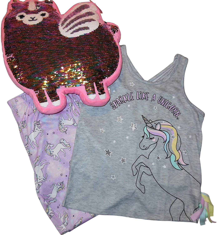 Justice Girls Sparkle Like a Unicorn Pajama Set Bundle - Includes 1 Each Sleep top, Sleep Bottoms, Decorative Pillow