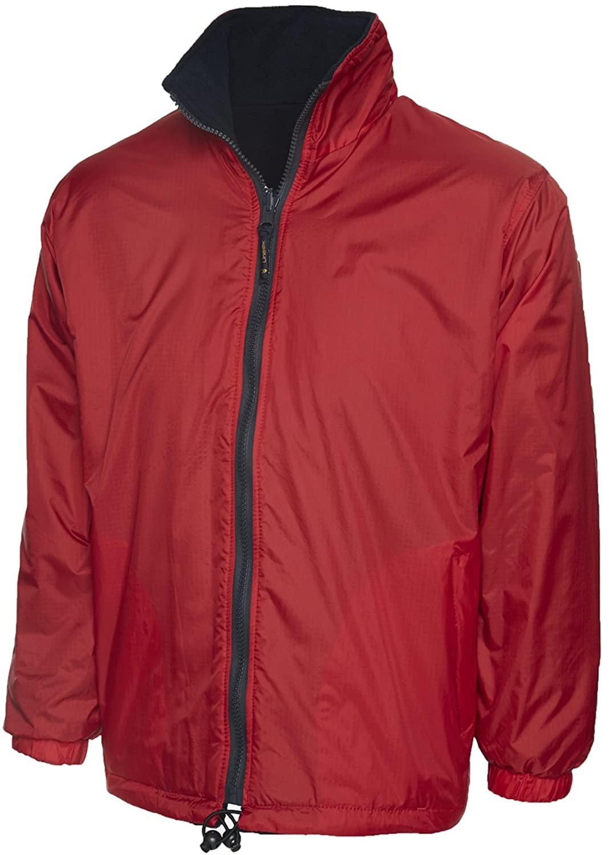 Uneek Clothing Mens Waterproof Windproof Reversible Fleece Jacket Medium Red/Navy