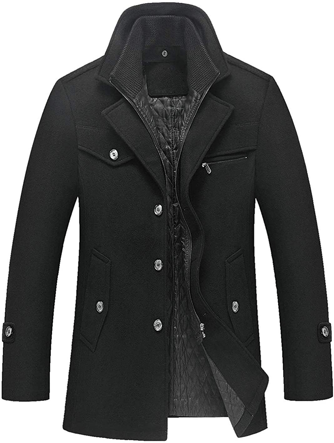 Gsdgjgg Men's Gentle Layered Collar Single Breasted Quilted Lined Wool Blend Pea Coats,Black,XX-Large