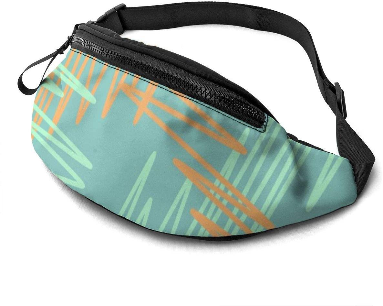 Scribbled Fanny Pack For Men Women Waist Pack Bag With Headphone Jack And Zipper Pockets Adjustable Straps