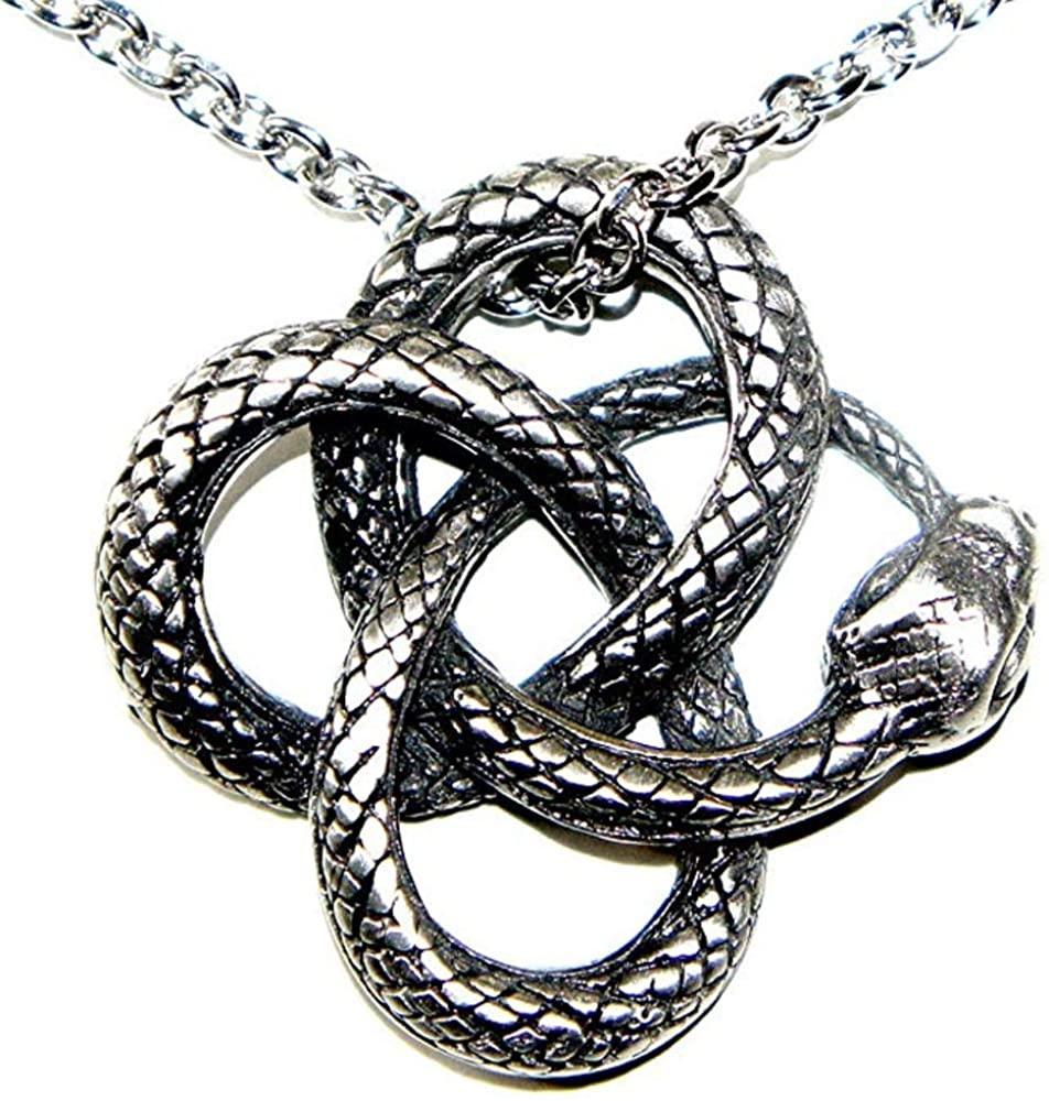 OhDeal4U Celtic Snake Viper Cobra Python Serpent Knot Pagan Pewter Pendant Amulet w Necklace