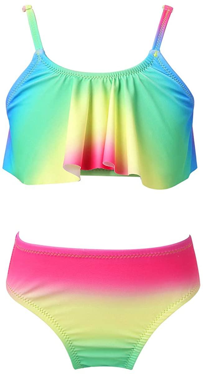 Alvivi Kids Girls Two Pieces Ruffled Bathing Suit Tankini Bikini Sets Swimsuit Swimwear Summer Beachwear