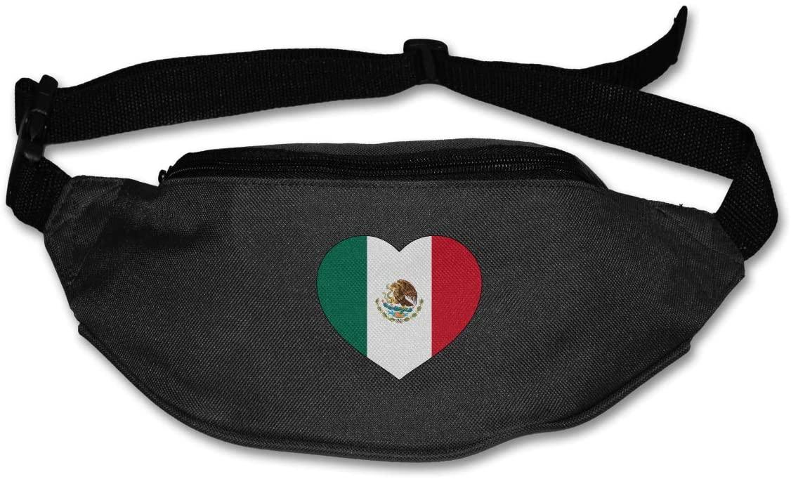 SWEET-YZ Unisex Waist Pack Love Mecico Heart Flat Fanny Bag Pack for Sport Running
