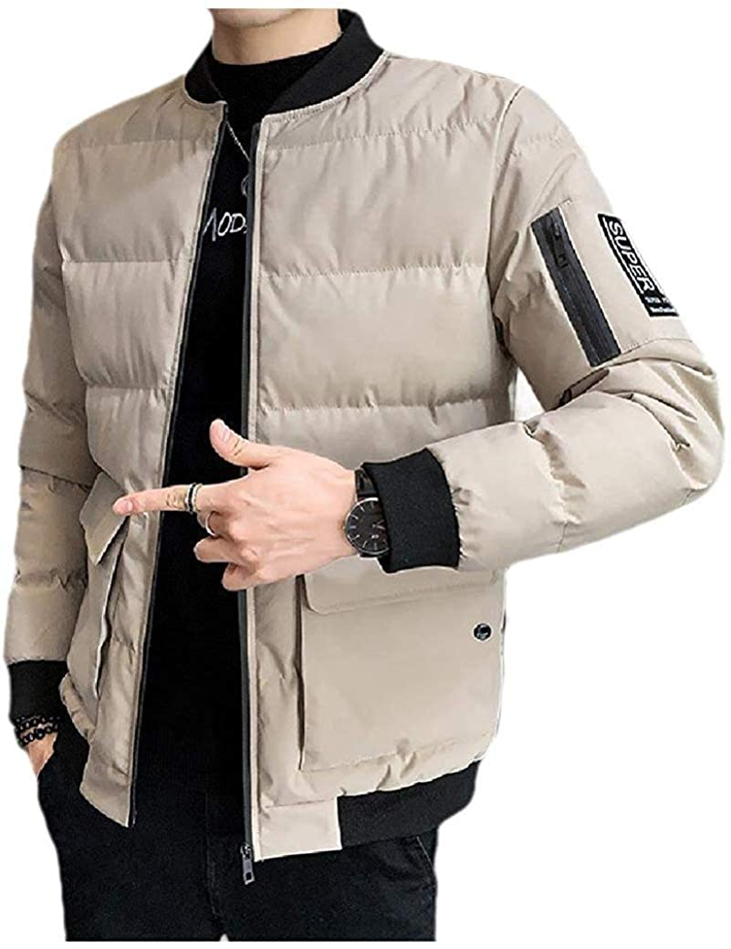 Wndxfhdscd Men Casual Quilted Warm Zip-up Winter Parka Jacket