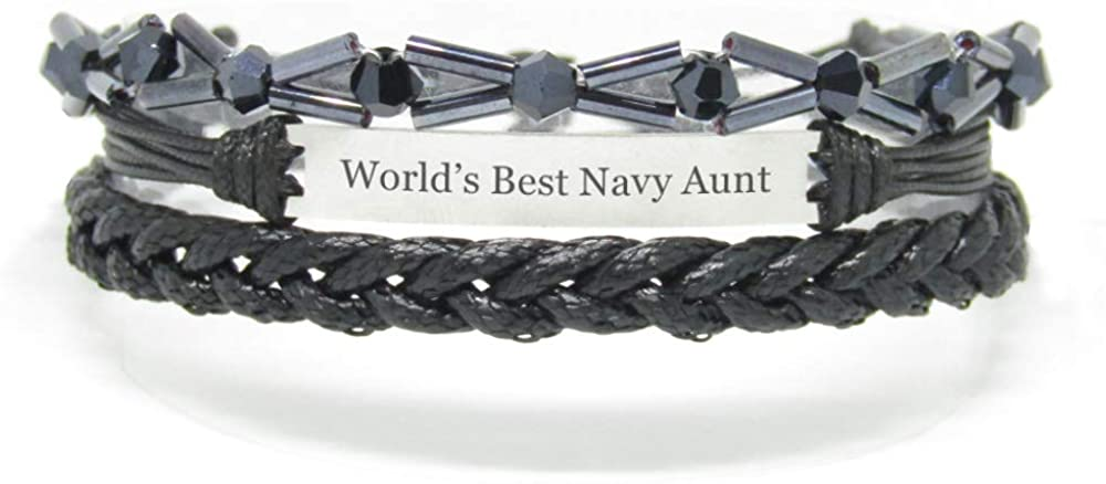 Miiras Family Engraved Handmade Bracelet - World's Best Navy Aunt - Black 7 - Made of Braided Rope and Stainless Steel - Gift for Navy Aunt