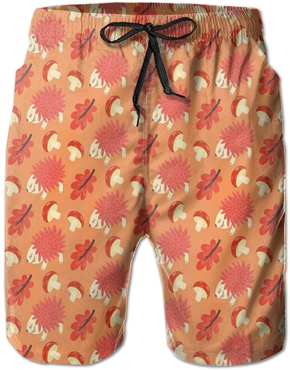 Men's Swim Trunks Quick Dry Beach Shorts Romantic Autumn Nature Pattern Kids Design Toadstool Hedgehog Maple Leaves L