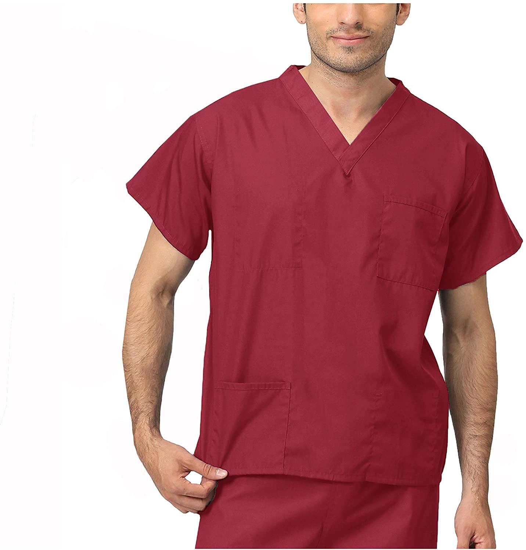 LEADERTUX Reversible Color Scrubs Top & Pants Bottom Workwear Professionals Healthcare Medical Uniform Men Women XS-3XL (3XL, Scrubs Top Burgundy)