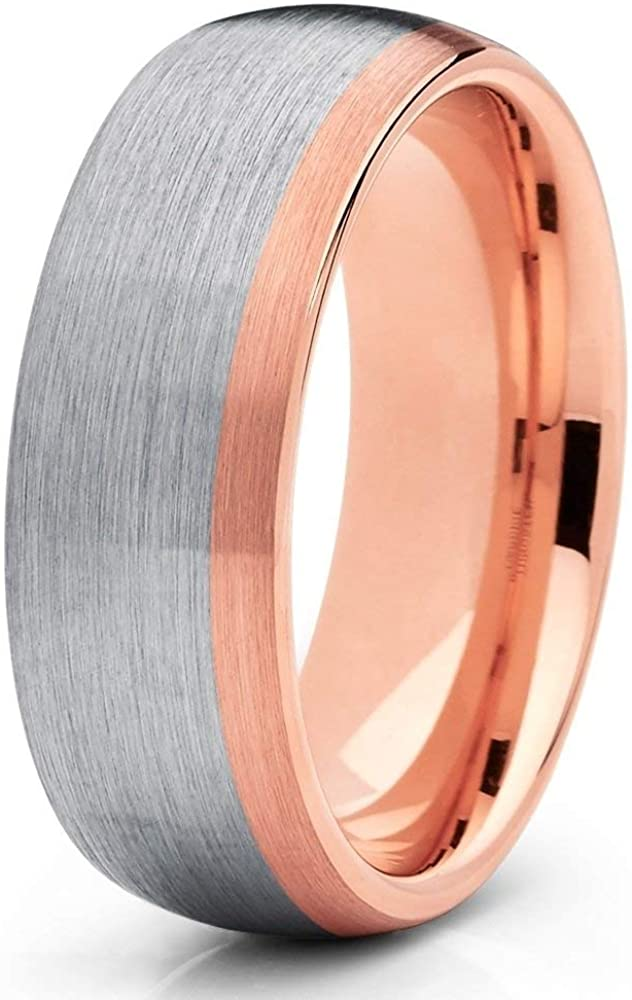 Rose Gold Tungsten Wedding Band,18k Rose Gold Ring,Tungsten Wedding Band,Anniversary Ring,Tungsten Carbide Ring,Comfort Fit