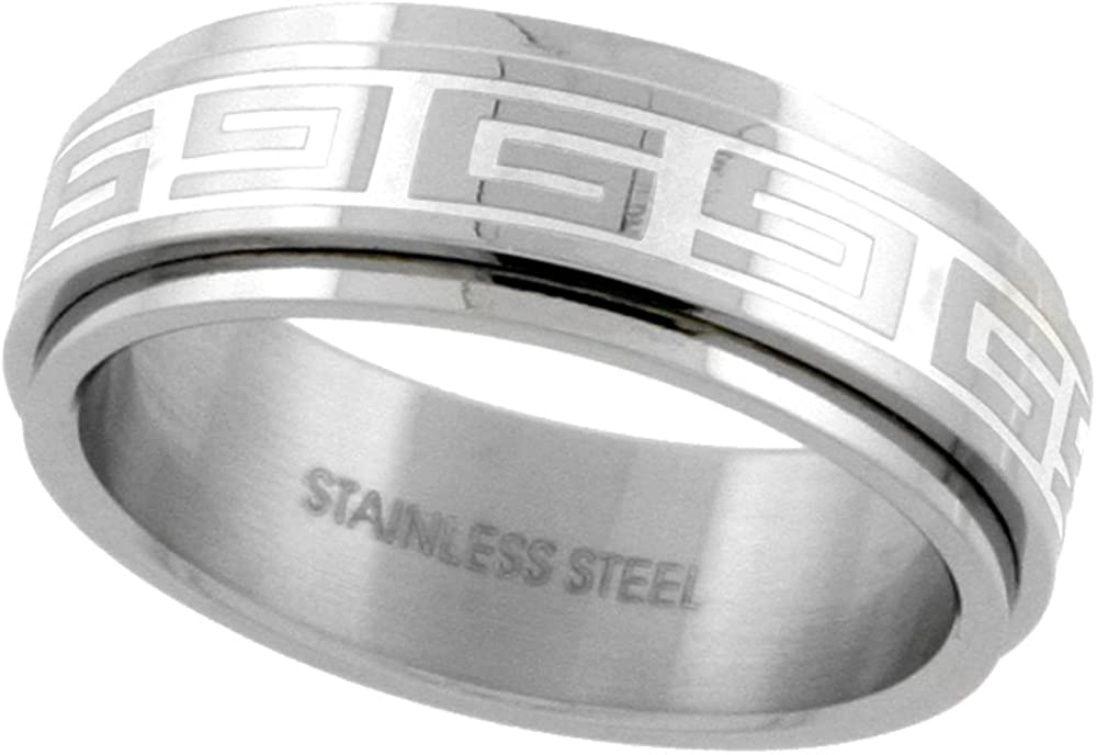 Surgical Stainless Steel Greek Key Spinner Ring 8mm Wedding Band, Sizes 7-14
