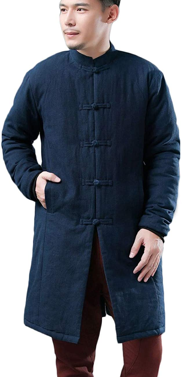 Men's Cotton Linen Warm Winter Jacket Quilted Button Down Long Coat with Pockets