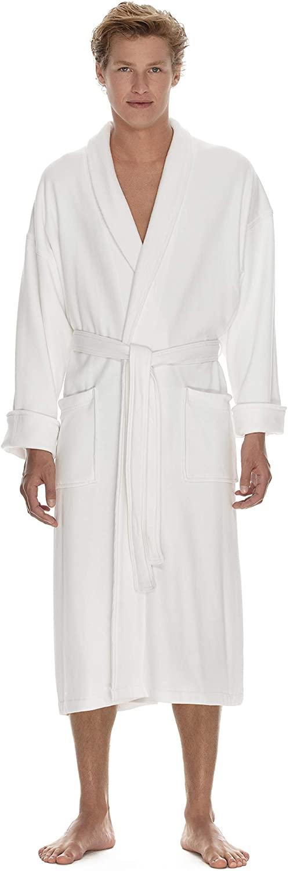 Boca Terry Mens Robe - Super Soft Cool Cotton Bathrobe - Shawl Collar Lightweight Robe for Men - Medium/Large White