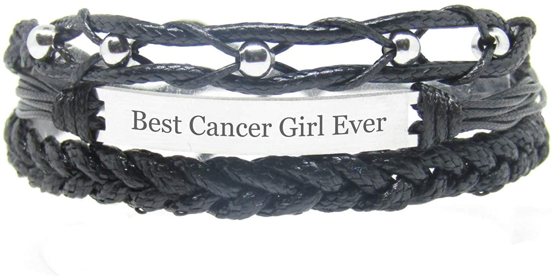 Miiras Zodiac Engraved Handmade Bracelet for Women - Best Cancer Girl Ever - Black 2 - Made of Braided Rope and Stainless Steel - Gift for Cancer Girl