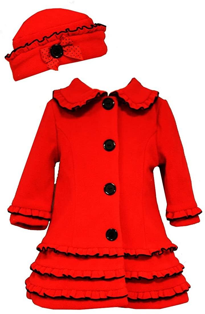 Bonnie Jean Little Girls Vest A-Line Holiday Fleece Coat & Hat, Red, 0-3M - 6X