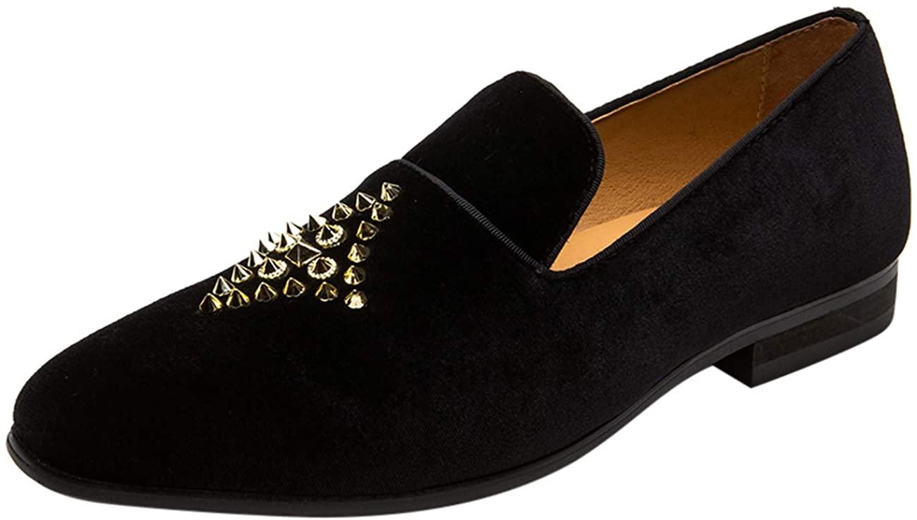 Mens Loafers Velvet Slip on Smoking Slipper Studded Ornament Pointed Toe Dress Casual Shoes Black