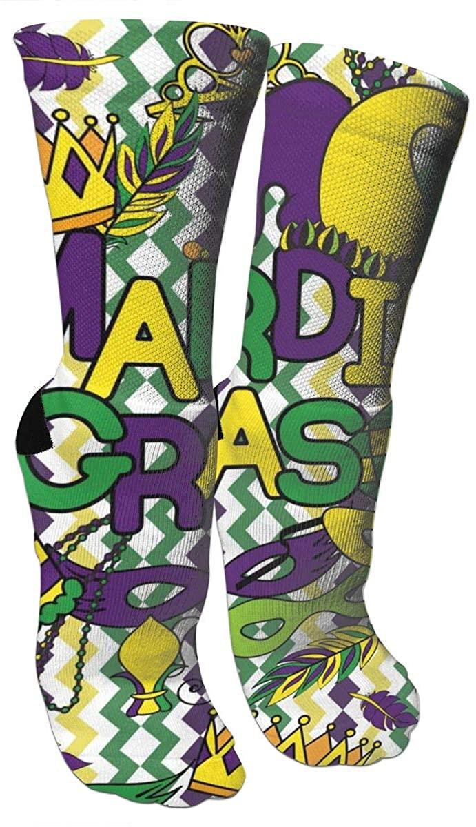 Crew Socks Mardi Gras Style Novelty Crazy Funny Travel Athletic Running Printed Casual Socks Length 15.7