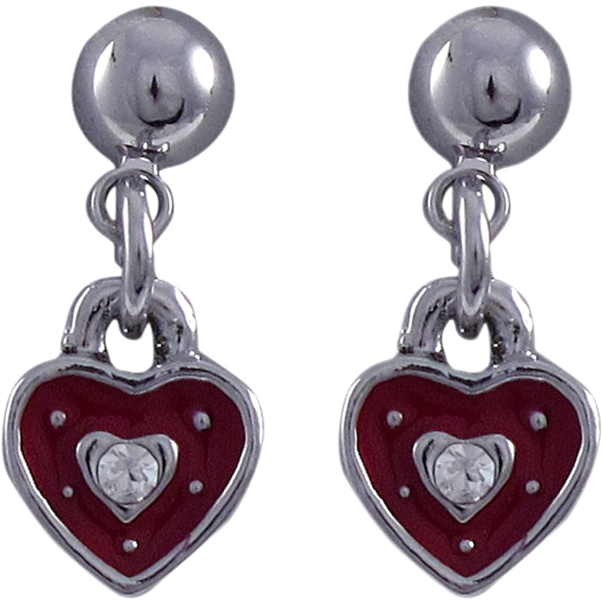 Ivy and Max Rhodium Finish Red Enamel Crystals Heart Dangle Earrings