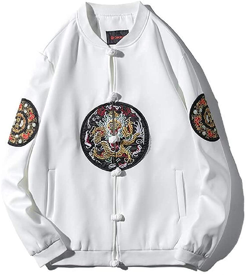 Men Bomber Classic Baseball Embroidery Chinese Style Buttons Jacket