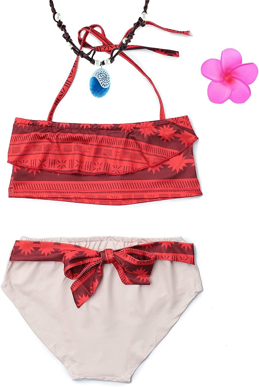 MUABABY Baby Girl Swimwear Digital Print Moana Adventure Bikini with Necklace and Flower