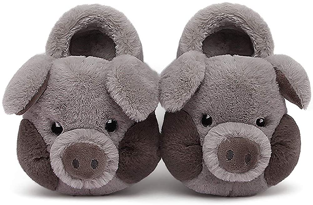 Toddler Cute Pig Slippers Plush Upper Soft Cartoon Animal Pattern Cozy Home Shoes for Indoor/Outdoor