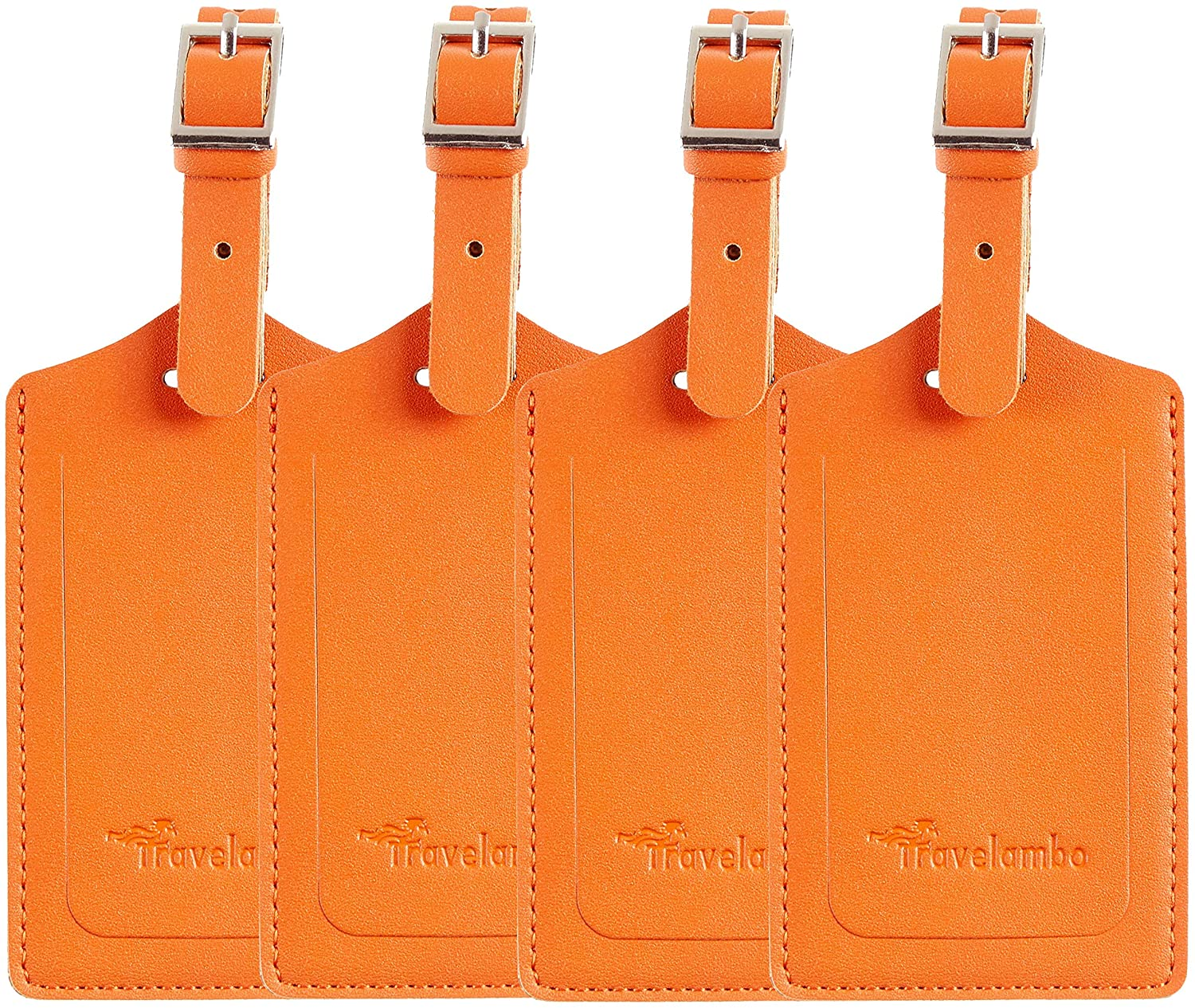 4 Pack Leather Luggage Travel Bag Tags by Travelambo Orange