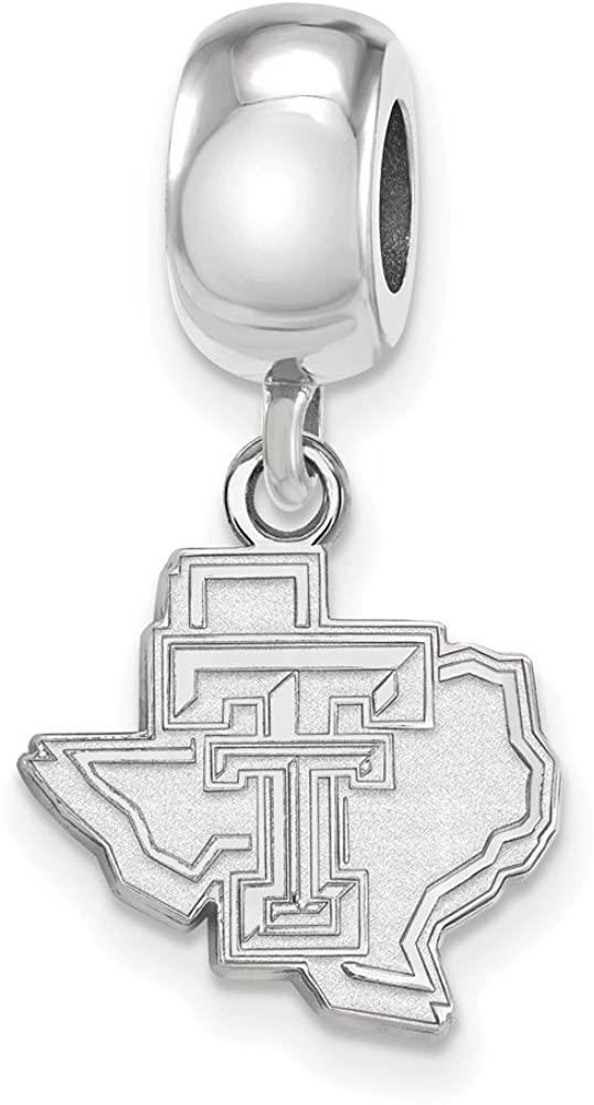Bead Charm White Sterling Silver Texas NCAA Tech University