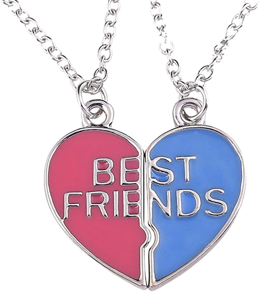 JY Jewelry Silver-plated Red Blue Broken heart pendant Best Friend Necklace