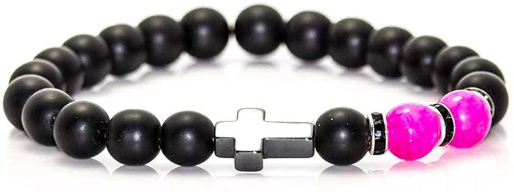 Mgutillart 8MM Natural Stone Matte Agate Beads Bracelet Hematite Cross Bracelet