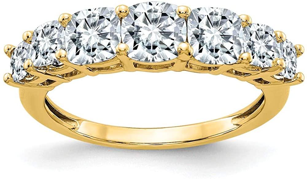 14K Yellow Gold Ring Band Moissanite Cushion White, Size 8