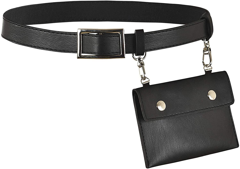 Nihsatin Women's PU Leather Belt Fanny Pack with Removable Purse Fashion Waist Pouch Belt Bags
