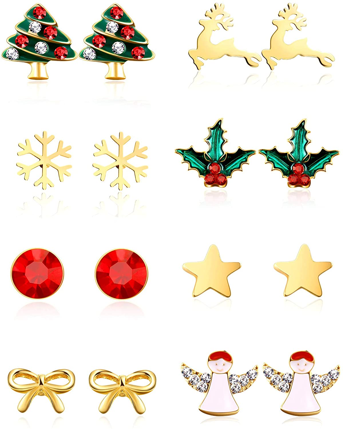 8 Pairs Christmas Charm Stud Earrings Set, Christmas Holiday Gift for Women Girl