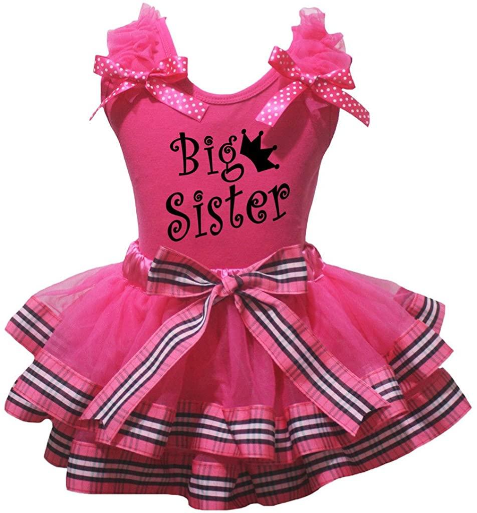 Petitebella Big Sister Shirt Stripes Ribbon Hot Pink Petal Skirt Outfit Nb-8y