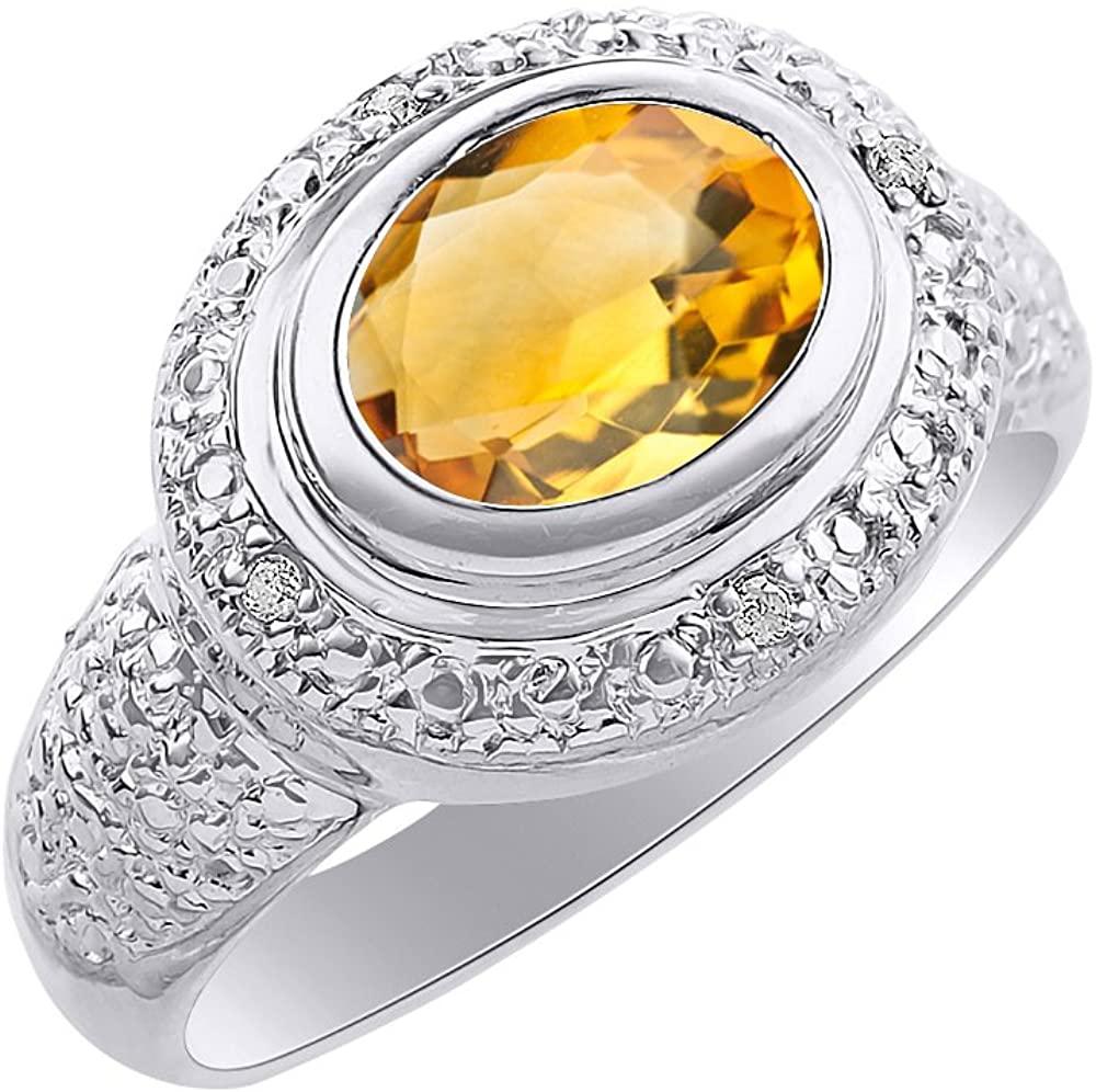 Diamond & Citrine Ring Set In 14K White Gold - Diamond Halo - Color Stone Birthstone Ring