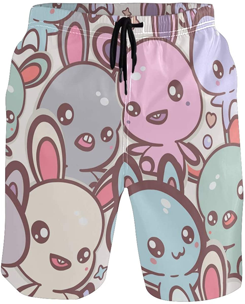 Mens Swim Trunks Kawaii Bunnies Cats Colorful Swimming Trunks Beach Shorts