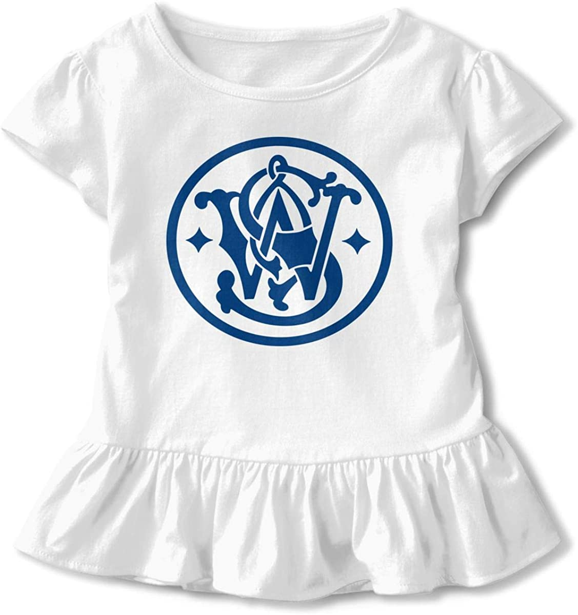 Kids Smith and Wesson Logo Toddler Short Sleeve T Shirt Children Girls Cotton Graphic Tee Soft Dress (2-6T)