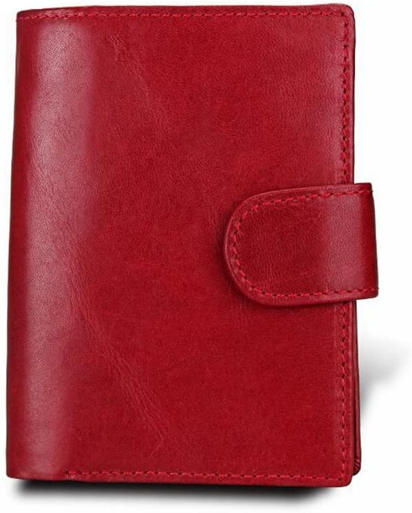 WENNEW Minimalist Vintage Cowhide Leather Wallet with Zipper Pocket for Men, Mens Wallet (Color : Red)