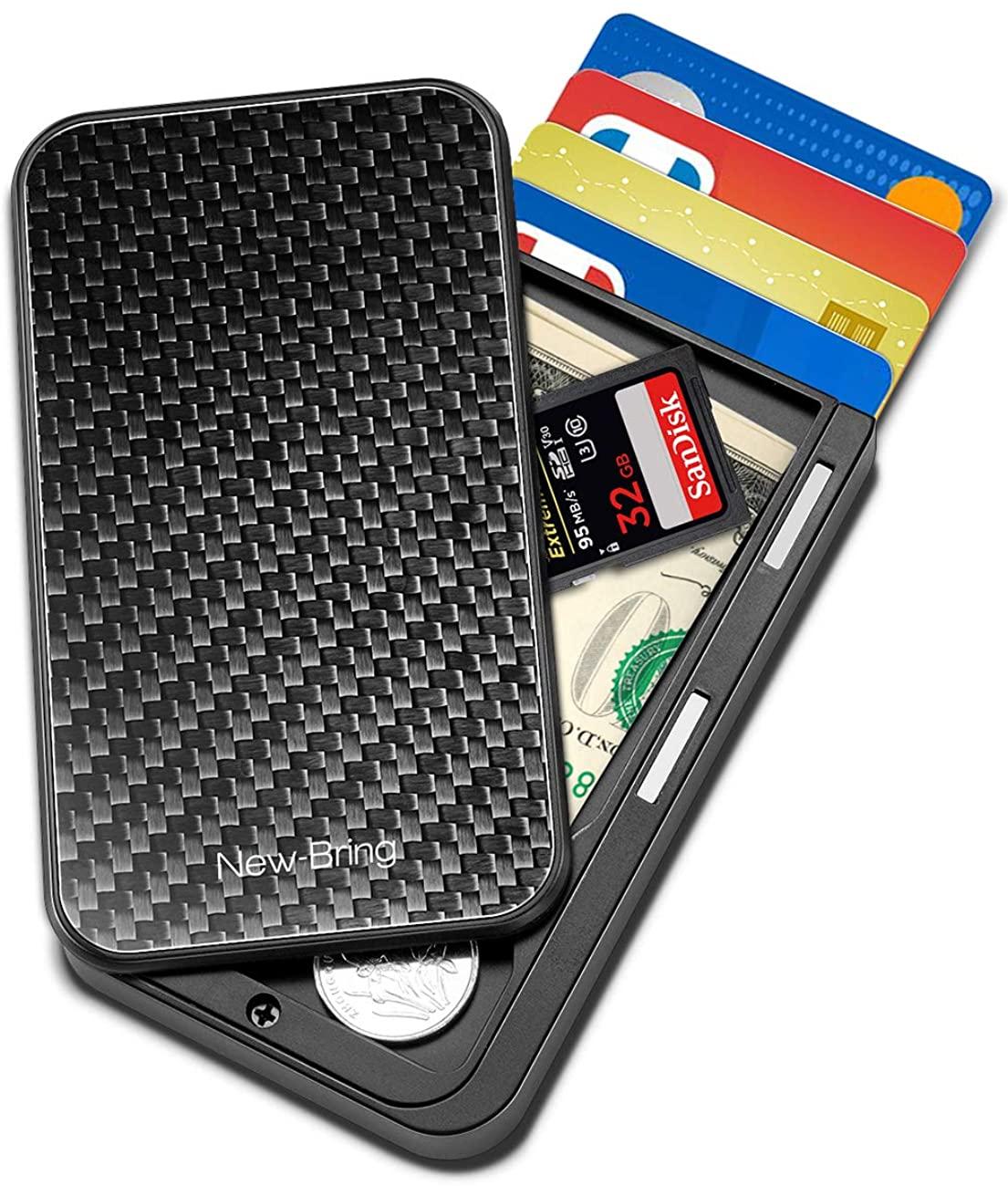 New-Bring Flip Credit Card Holder Novelty Wallet for Men Slim Front Pocket RFID Money Clip