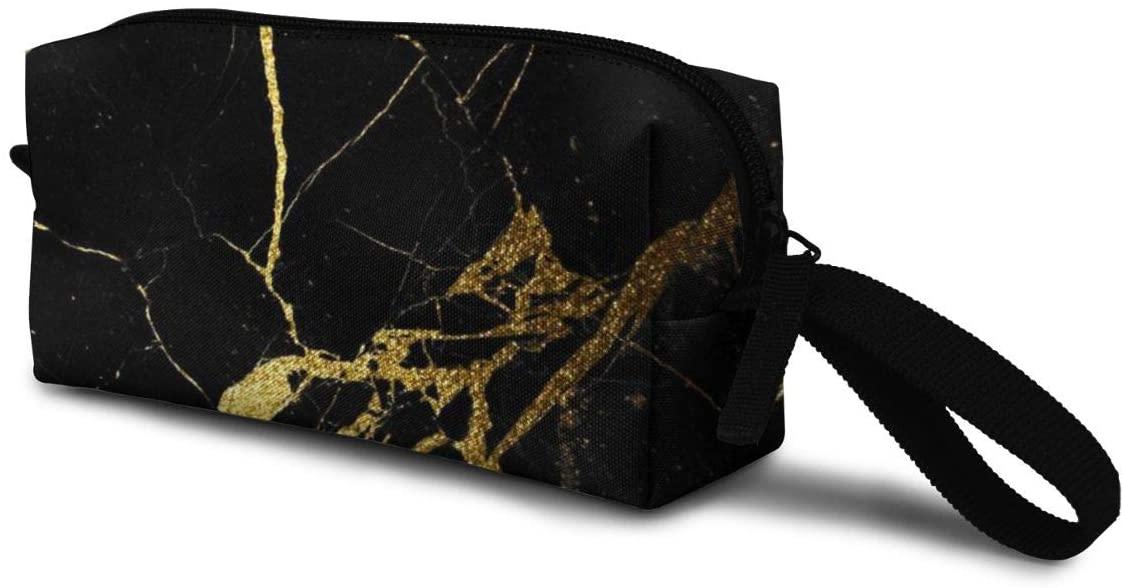 T-JH Gold and Black Mini Makeup Bag,Portable Cosmetic Bag,Organizer,Toiletry Handbag,Medicine Bag,Storage Pouch for Women Purse