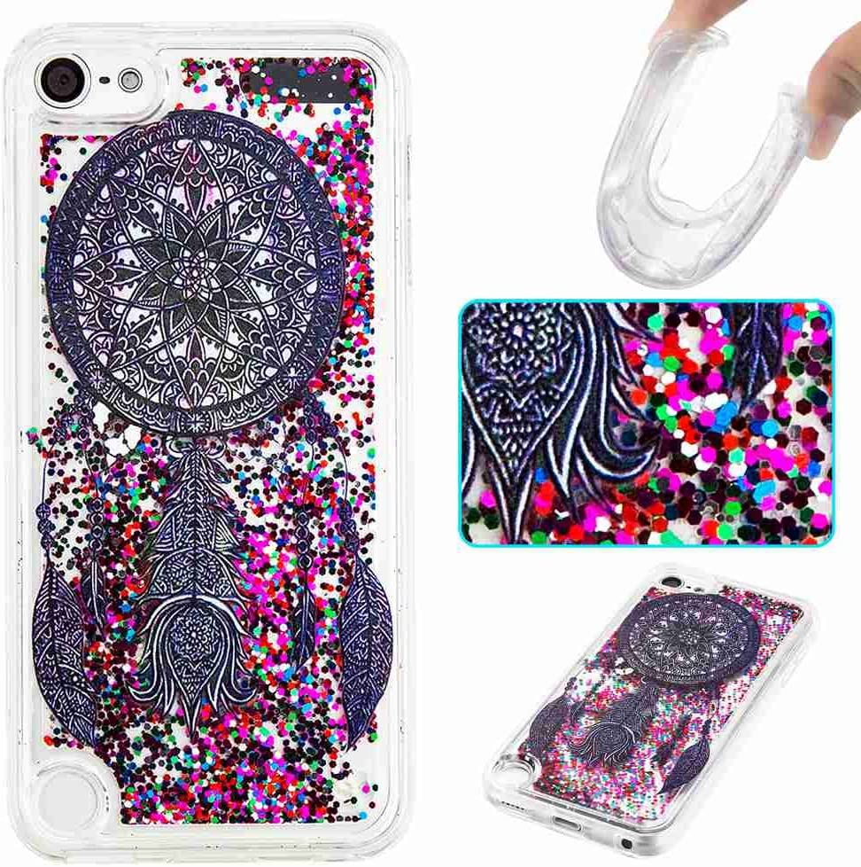 STENES iPod Touch 6 Case, 3D Creative Luxury Series Bling Glitter Sparkle Liquid Case Infused Glitter Stars Moving Quicksand Soft Case For iPod Touch 5/6 - Dark Blue Companula