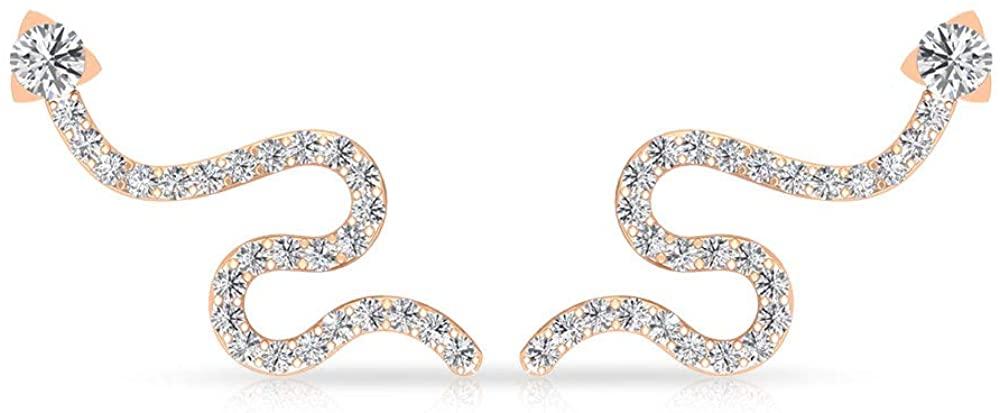 0.63 CT IGI Certified Diamond Snake Cartilage Earrings, Unique Curve IJ-SI Diamond Wedding Ear Crawlers, Antique Bridal Anniversary Statement Earrings, Screw Back