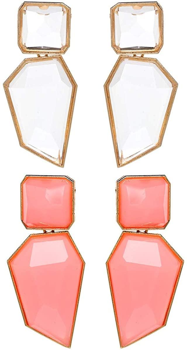 2 Pairs Acrylic Dangle Earrings Mottled Transparent Resin Earrings Geometric Big Charm Statement Earrings Acetic Acid Drop Earring for Women Girl Bohemian Fashion Party Jewelry