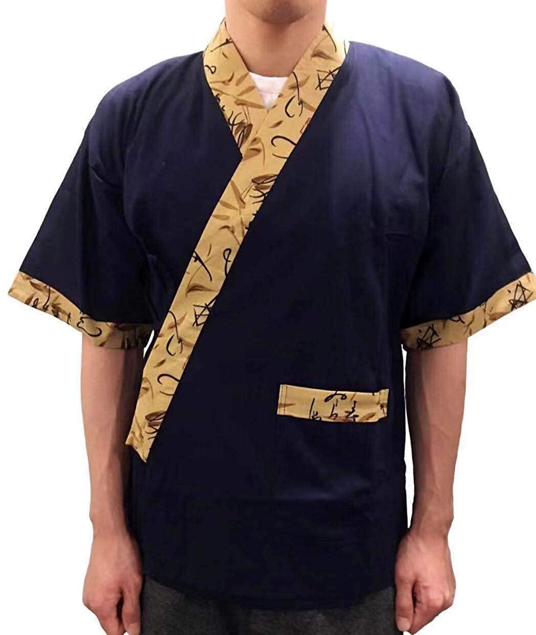 QJG Durable Cotton Sushi Chef Jacket Japanese Kitchen Uniform Kimono